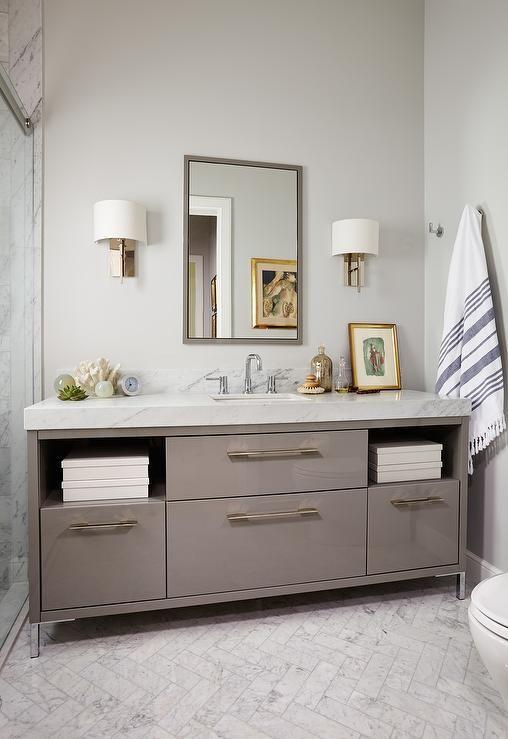 Gray Lacquered Bathroom Vanity Contemporary Bathroom Marble Sink Bathroom Bathroom Vanity Bathroom Floor Tiles