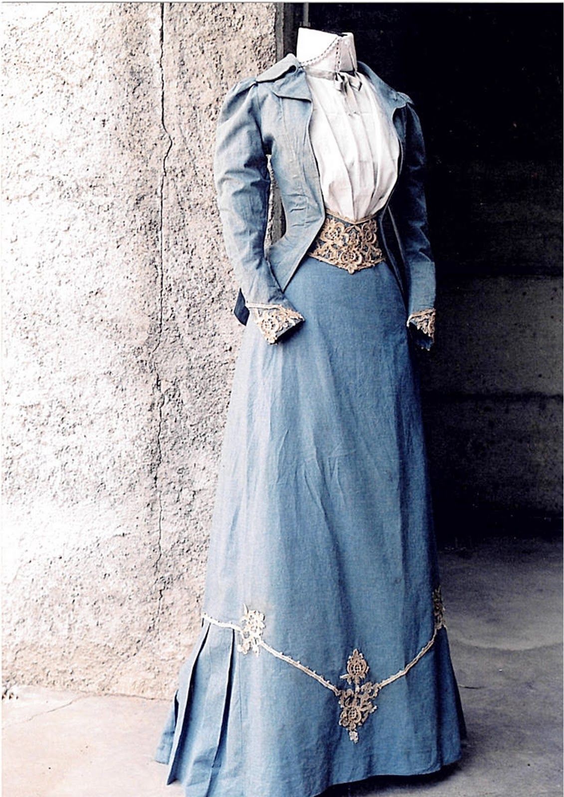 c.1890 blue cotton walking suit. jacket and skirt with detail of ...