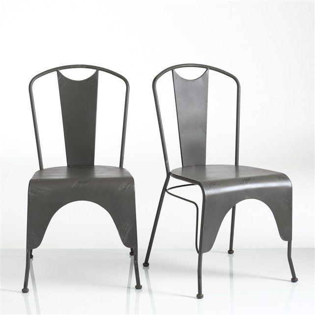 chaise acier laqu lot de 2 hiba la redoute interieurs prix - Chaise Acier