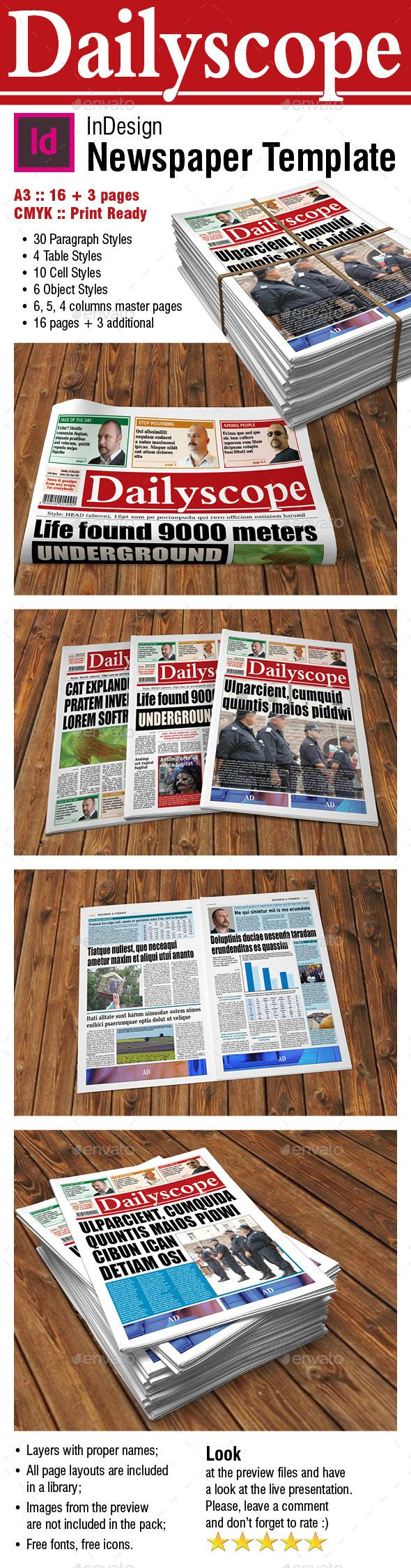 Dailyscope Newspaper Template 16 3 Pages Print Templates