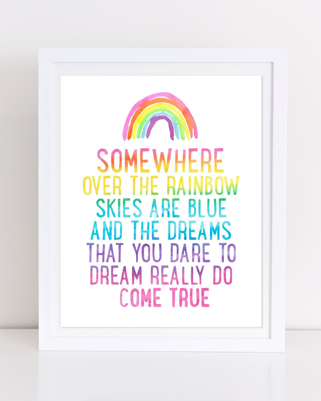 Somewhere Over the Rainbow, Printable Wall Art, Judy