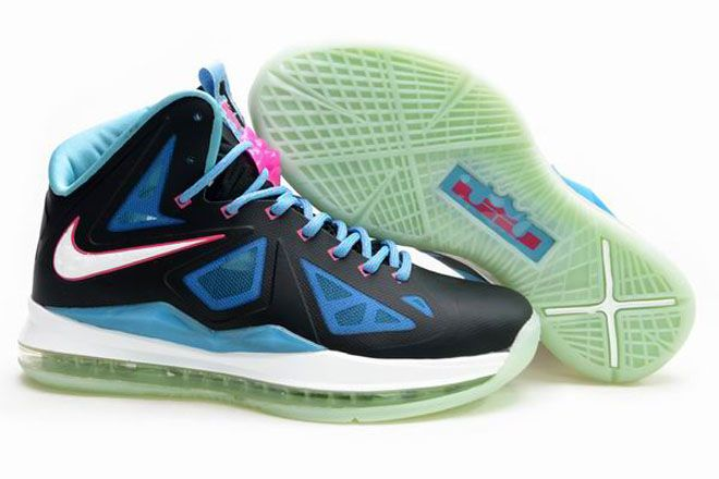 Nike Air Max Lebron 10 Luminous Black-Blue-Pink King James Shoes (Womens) ca6129f76