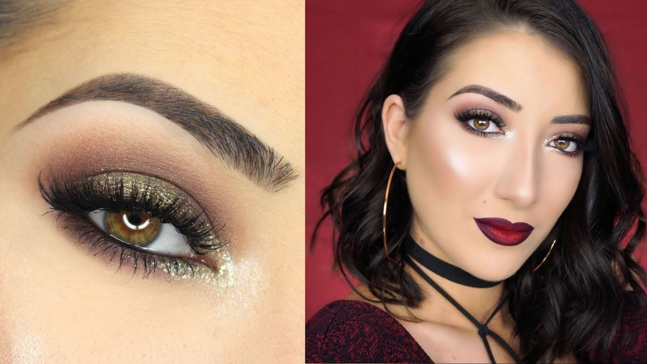 sparkly brown smokey eye & vampy ombre lips | new years eve