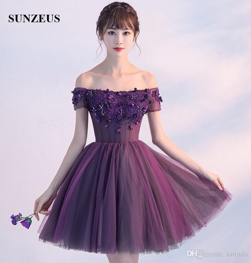 Cheap Short Purple Party Dresses 2017 New A Line Boat Neck Off ...