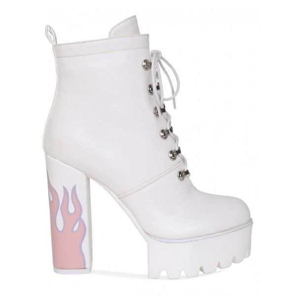 1efa05668bf8 Hustler Platform Heeled Ankle Boots With Flame Detail In White PU ( 60) ❤  liked