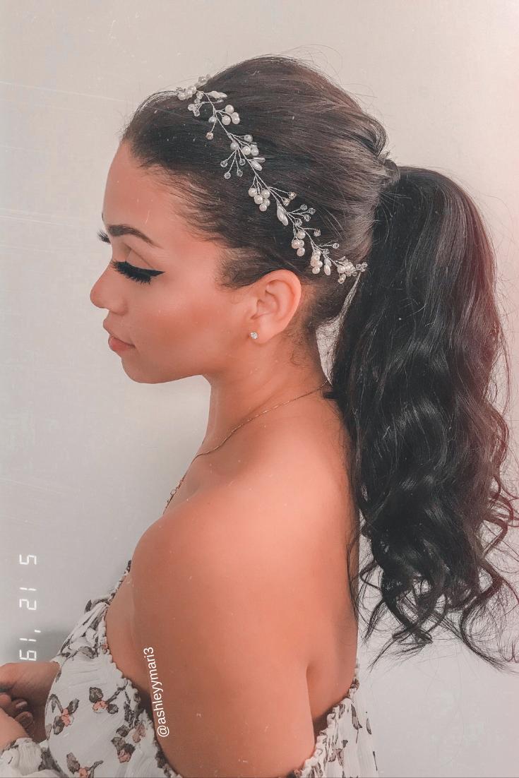 Wedding hair, prom hair, easy ponytail, clip in ponytail ...