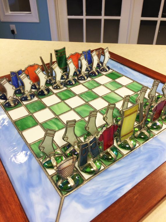 This One Of A Kind Chess Set Is Made From Beautiful Hand Crafted Stained Glass The Ornate Design Features A Variety Of Chess Board Chess Set Stained Glass Art