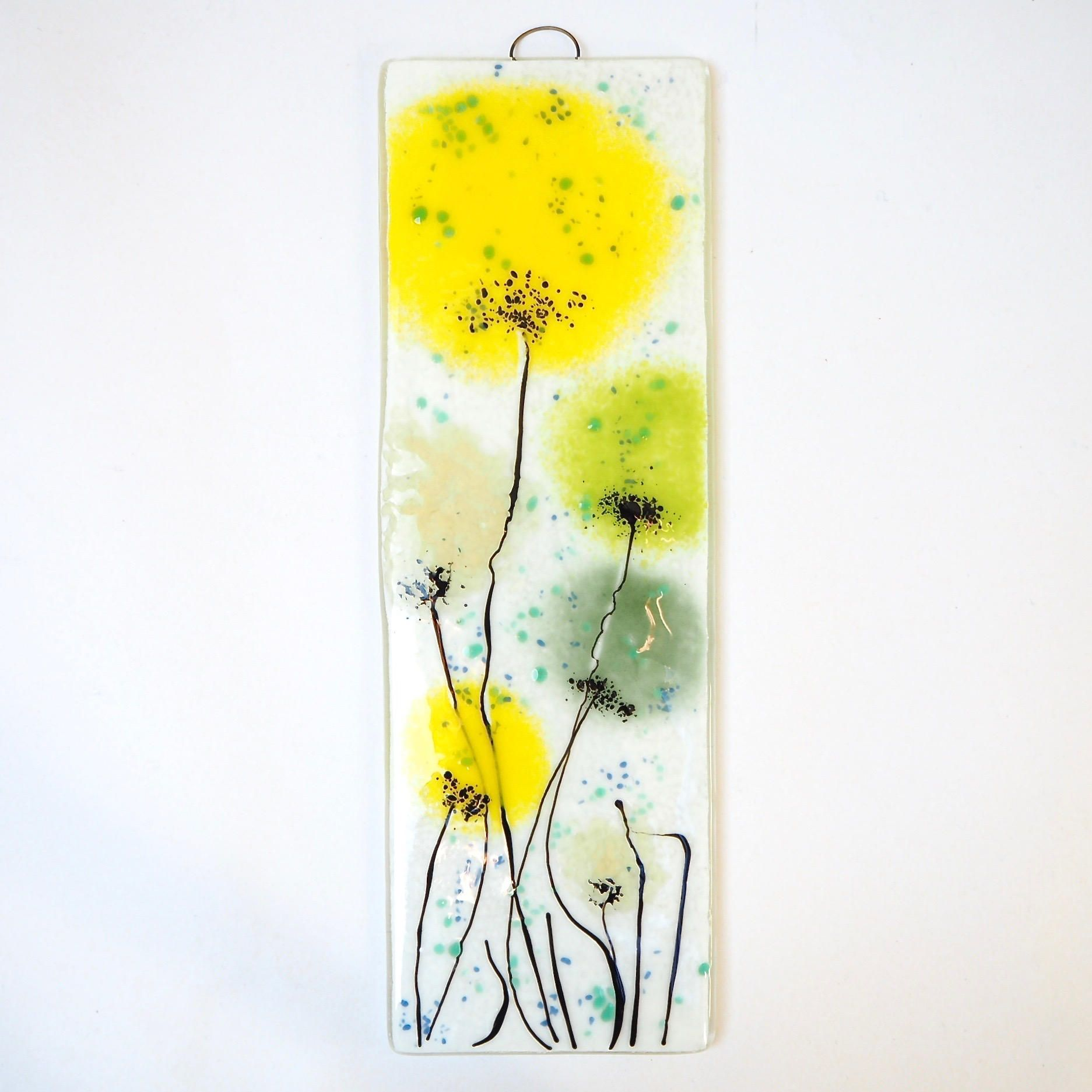 Yellow Green Fused Glass Wall Art - Poppy Art - Handmade Glass Gift ...