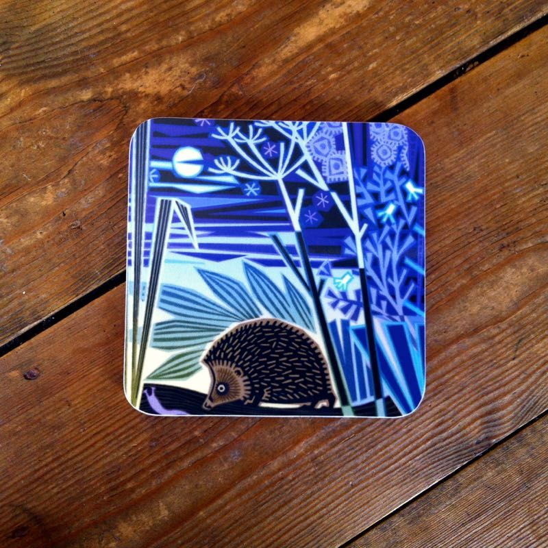 Hard-wearing melamine #coaster featuring a beautiful #hedgehog #design by #British #artist Jenny Tylden-Wright.  #countryside #wildife #moonlight #nocturnal #animals