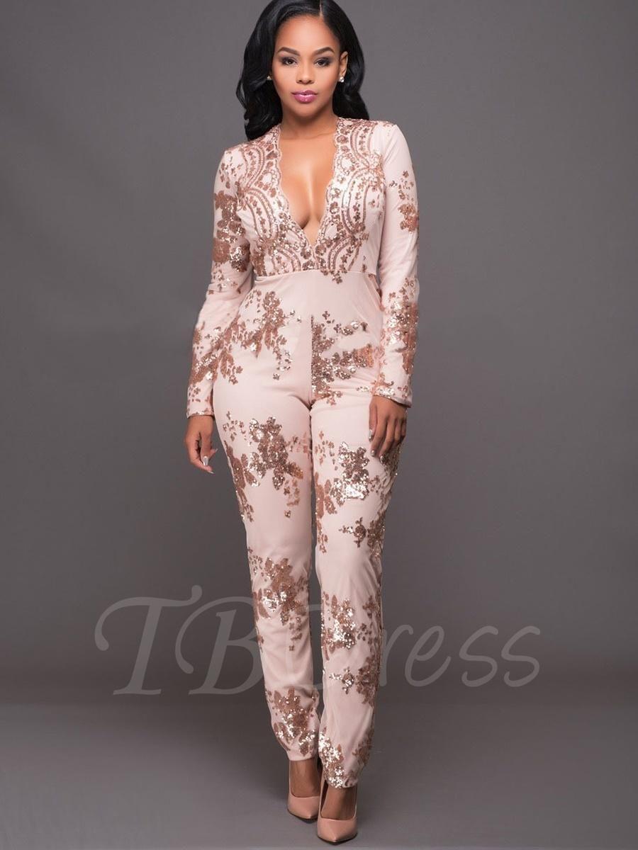 765449dfd2f9d TBDress - TBDress High-Waist V Neck Sequins Slim Full Length Womens Jumpsuit  - AdoreWe.com