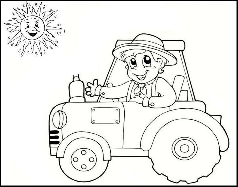 simple easy tractor coloring page Tractor coloring pages