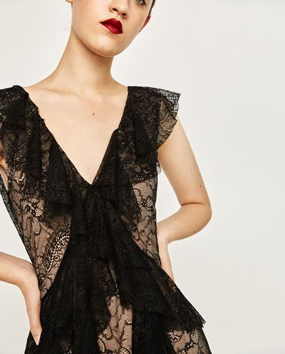 Image 6 of LACE STUDIO FRILLED DRESS from Zara