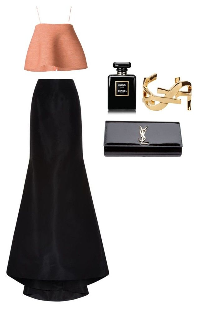 Evening Gown by andrea-grigoriou on Polyvore featuring polyvore fashion style Rosie Assoulin Carolina Herrera Yves Saint Laurent Chanel women's clothing women's fashion women female woman misses juniors