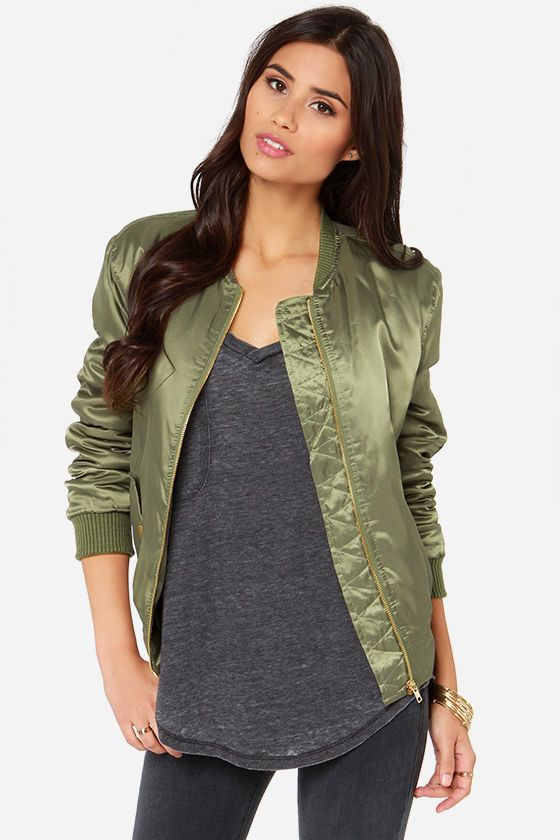 Bomb Diddly Olive Green Bomber Jacket | Green bomber jacket and ...