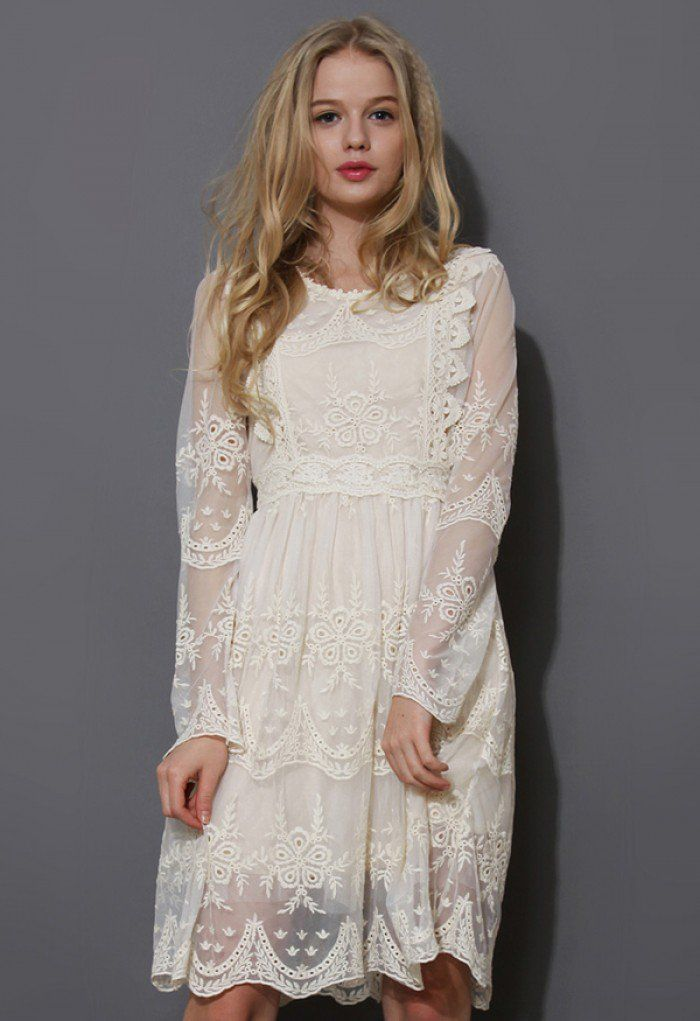 Vintage lace crochet and trimming throughout round neckline long-sleeve dress. Featuring lace trimming neckline, lace trimming on front and along waistline,delicate crochet on sheer mesh sleeves and hem. High waist designed. - Concealed back zip closure - 100% Polyester - Hand wash Size (cm)  Length   Bust   Waist   Shoulder   Sleeves S                   88     83       64           34           66    M                  88     86        66           35          68  L                   90    …