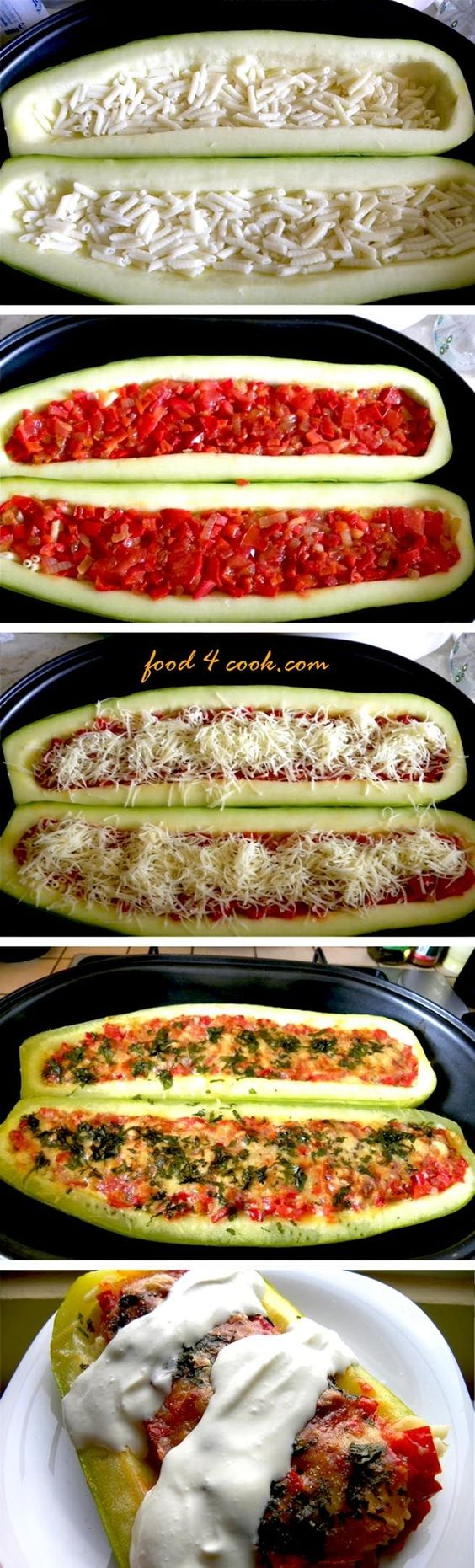 Stuffed Zucchini- would be super easy to make: