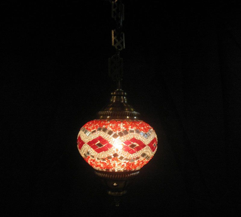 Turkish mosaic lamp w electric cable moroccan lantern glass hanging light 193  #Handmade #Moroccan