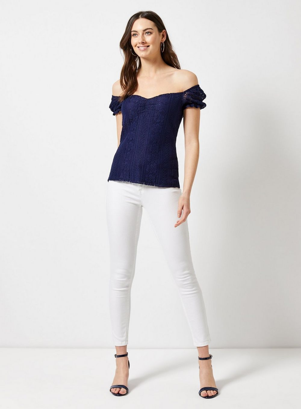 17aca69308a72 Navy Milkmaid Lace Top in 2019