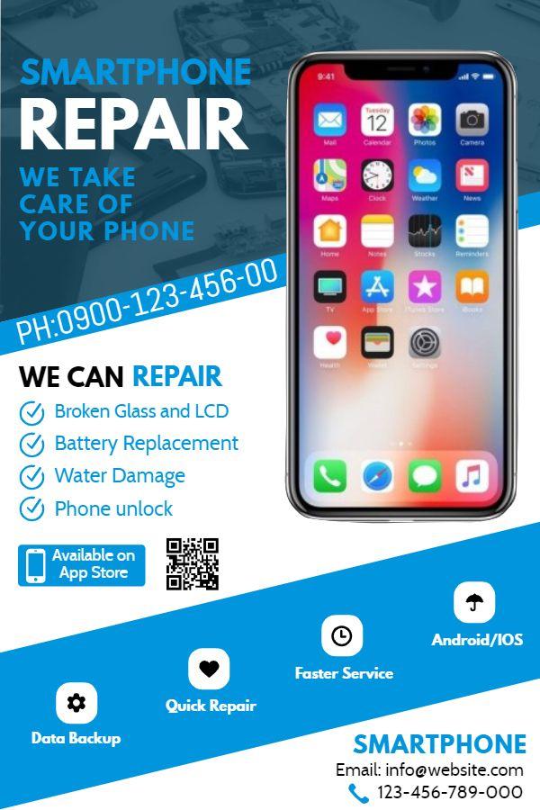 Smartphone mobile repair shop flyer/poster template ...