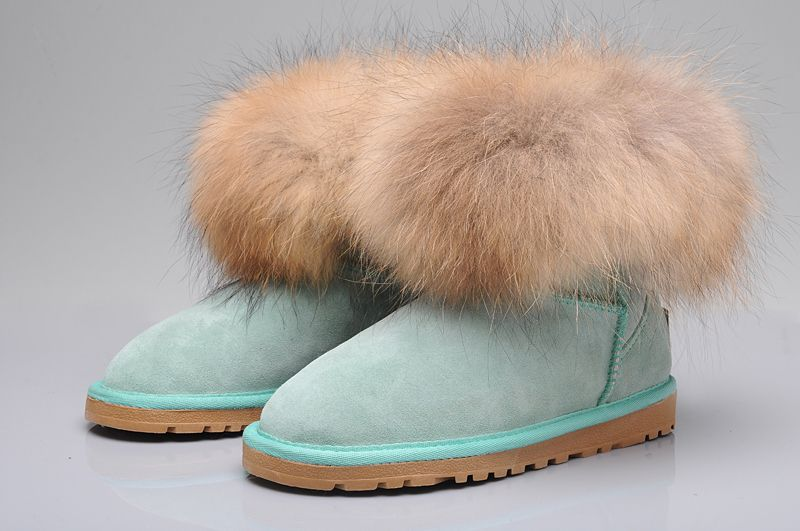 UGG Fox Fur Mini Boots 5854 Blue