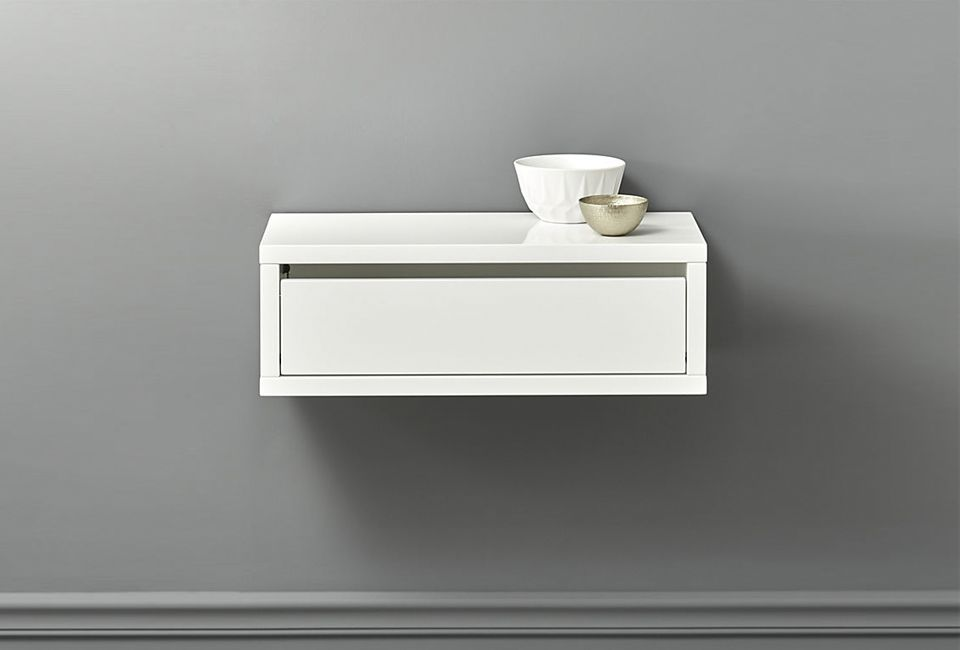 Slice White Wall Mounted Storage Shelf Wall Mounted Storage Shelves Wall Mounted Shelves Wall Shelf With Drawer
