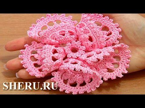 Crochet 3D 5-Petal Flower Tutorial 63 часть 2 из 2 Как вязать цветок ...