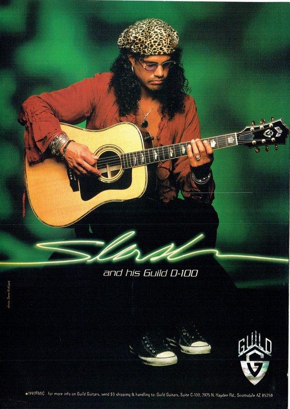 1998 Advertisement Slash For Guild Guitars D100 Acoustic Guns N Roses Gnr Guitarist 90 S Rock Music Guild Guitars Acoustic Guitar Guitar