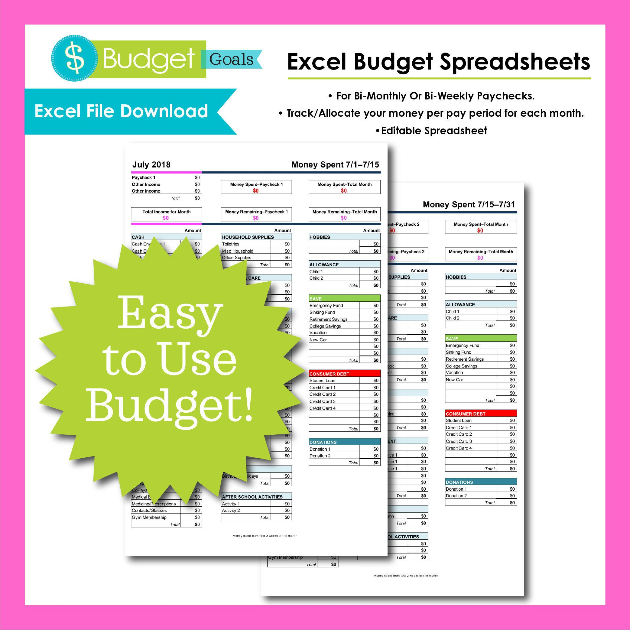 Excel Budget Spreadsheet Instant Download