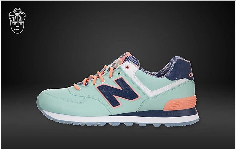 Women New Balance 574 Island Light Blue Low Orange Dark Blue