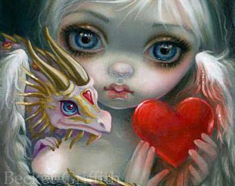 Three Wishes Jasmine Becket-Griffith CANVAS PRINT big eyes Dandelion Fairy art
