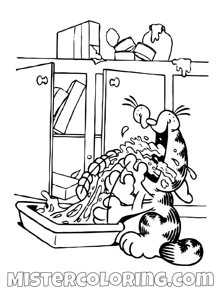 Garfield Eating At The Kitchen Coloring Page Pirate Coloring Pages Cartoon Coloring Pages Coloring Pages