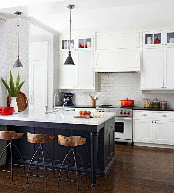 53 variantes pour les cuisines blanches! Kitchens, Kitchen reno - plan de travail cuisine rouge