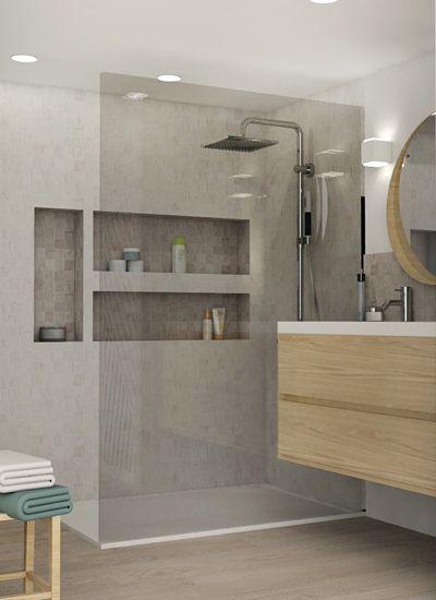 Pied à terre chic et moderne, rénovation, appartement, canut, Lyon - Salle De Bain Moderne Douche Italienne