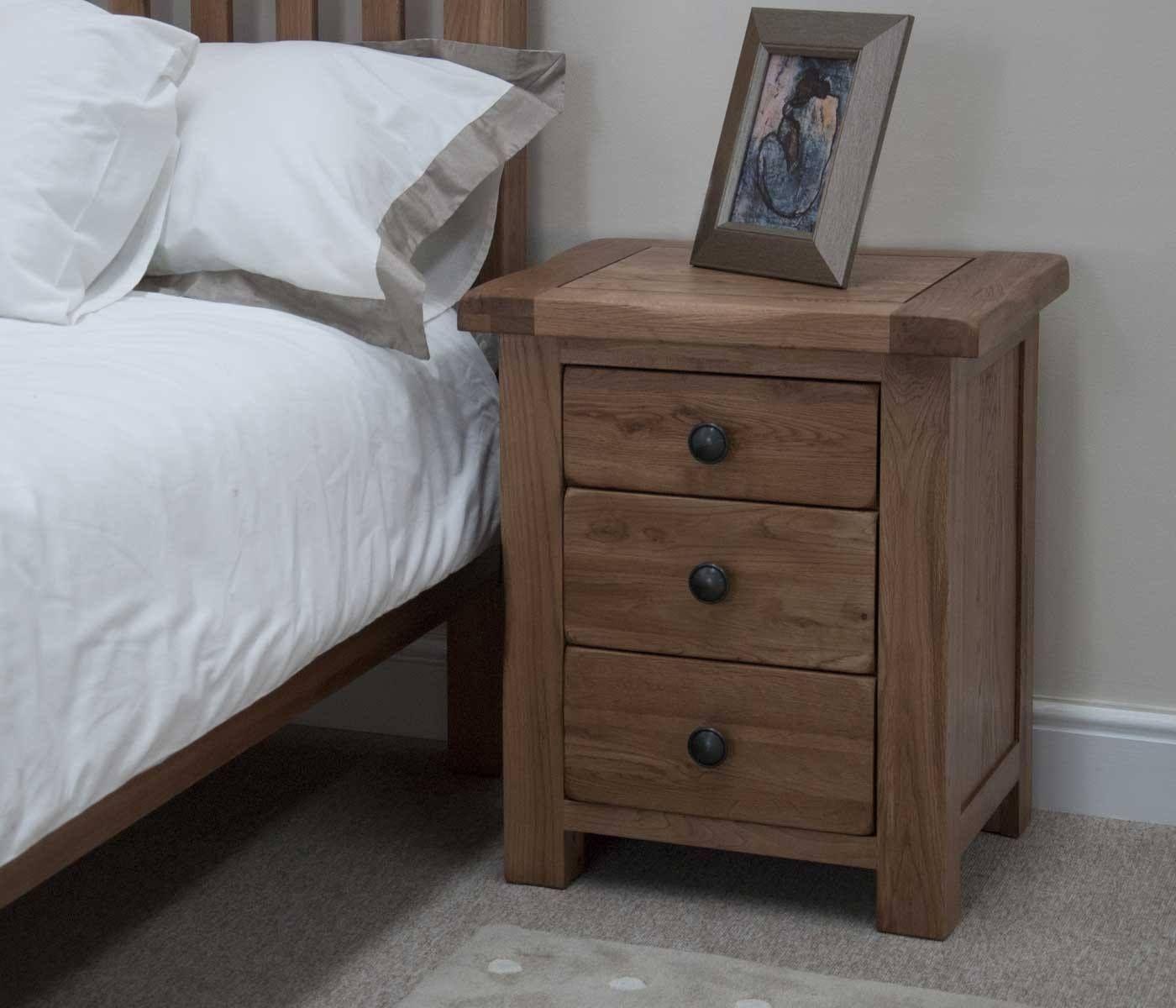 Original Rustic Solid Oak 3 Drawer Bedside Solid