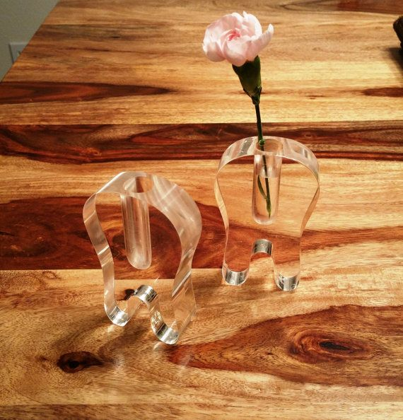 Acrylic Tooth Vase FUN by VintageGiftables on Etsy