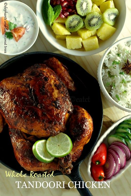 Whole Roasted Tandoori Chicken - with step by step pictures #tandoorichicken