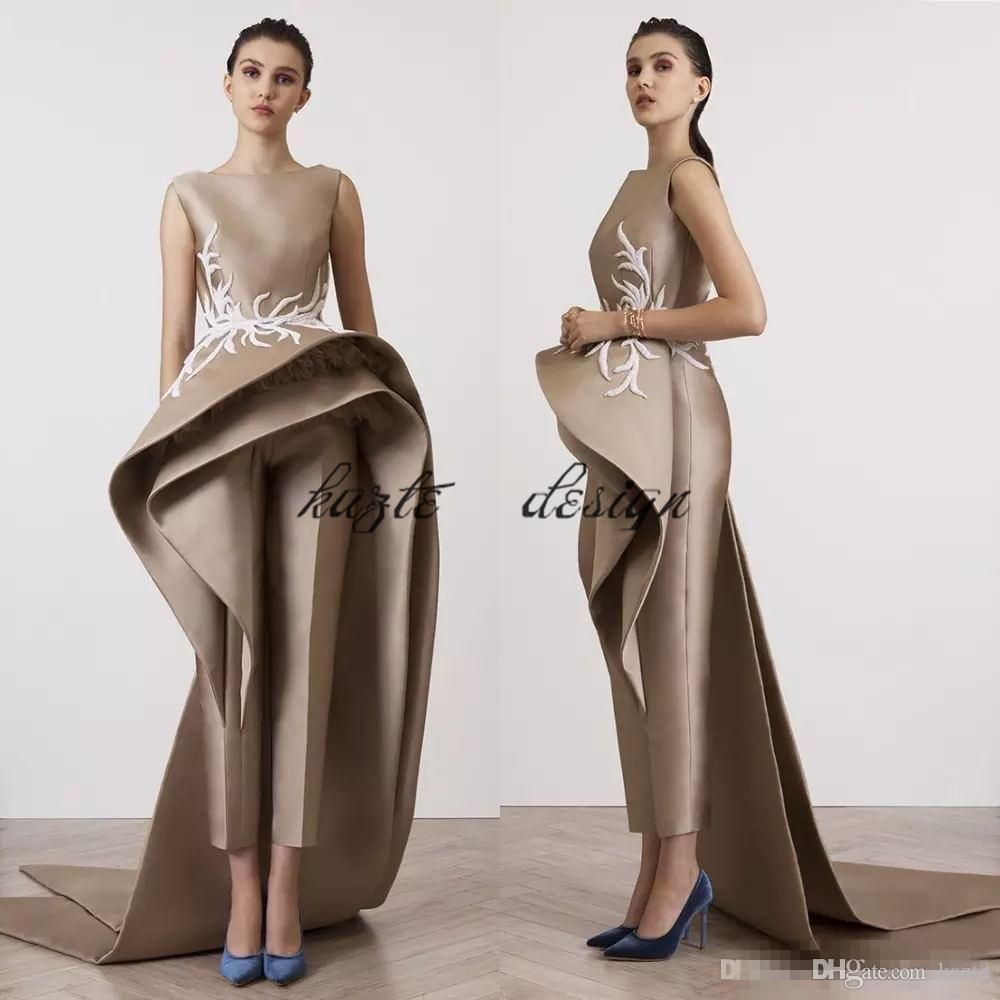8c22e578e 2018 New Fashion Jumpsuits Evening Dresses Bateau Sheath Formal Prom Gown  With Peplums Custom Made Party Dress Evening Dresses In Dubai Evening  Dresses ...