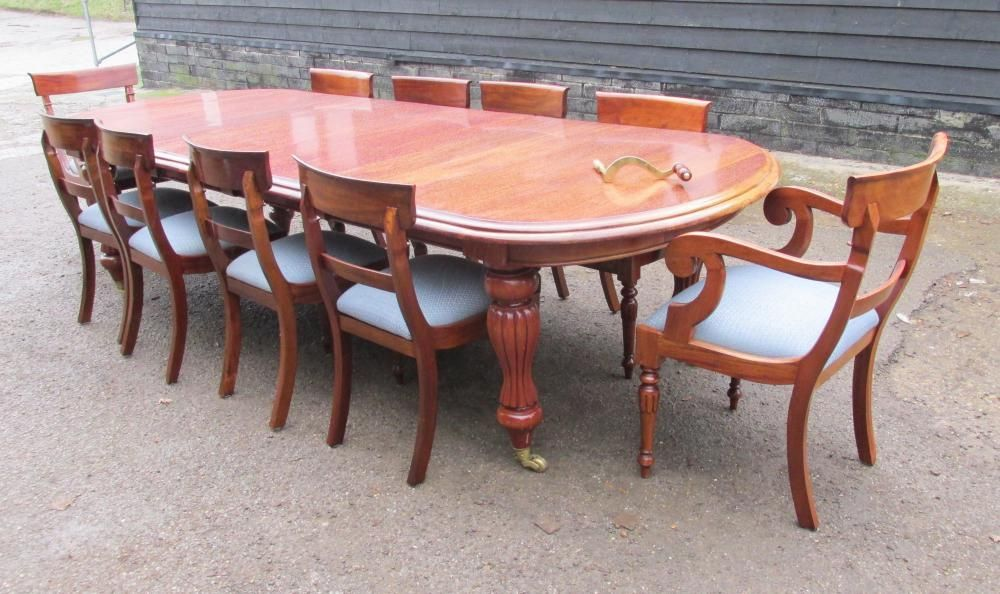 Mahogany Victorian Dining Set Extending Table And 10 Chairs