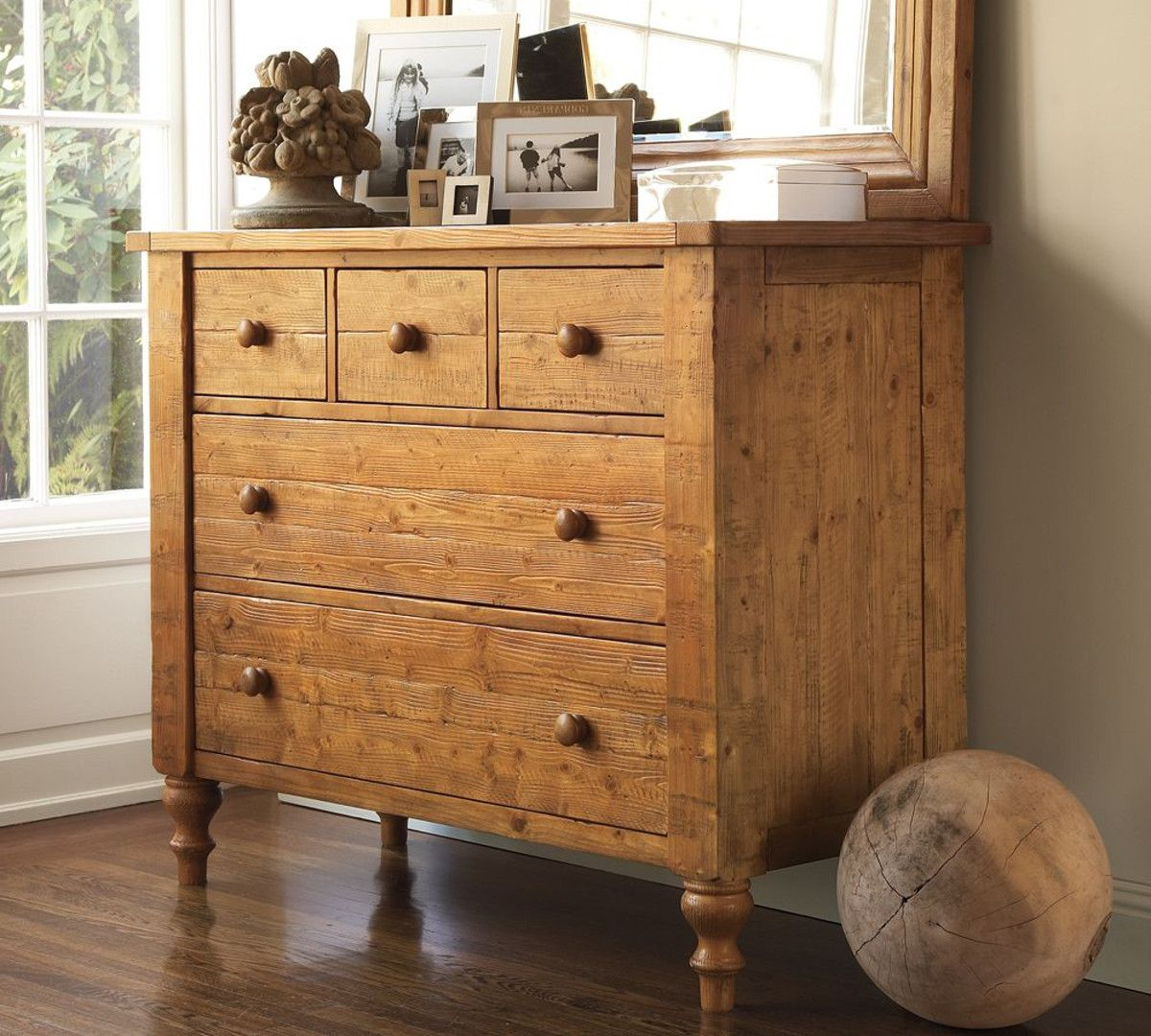 Pottery Barn Ashby Dresser wax pine Furniture, Rustic