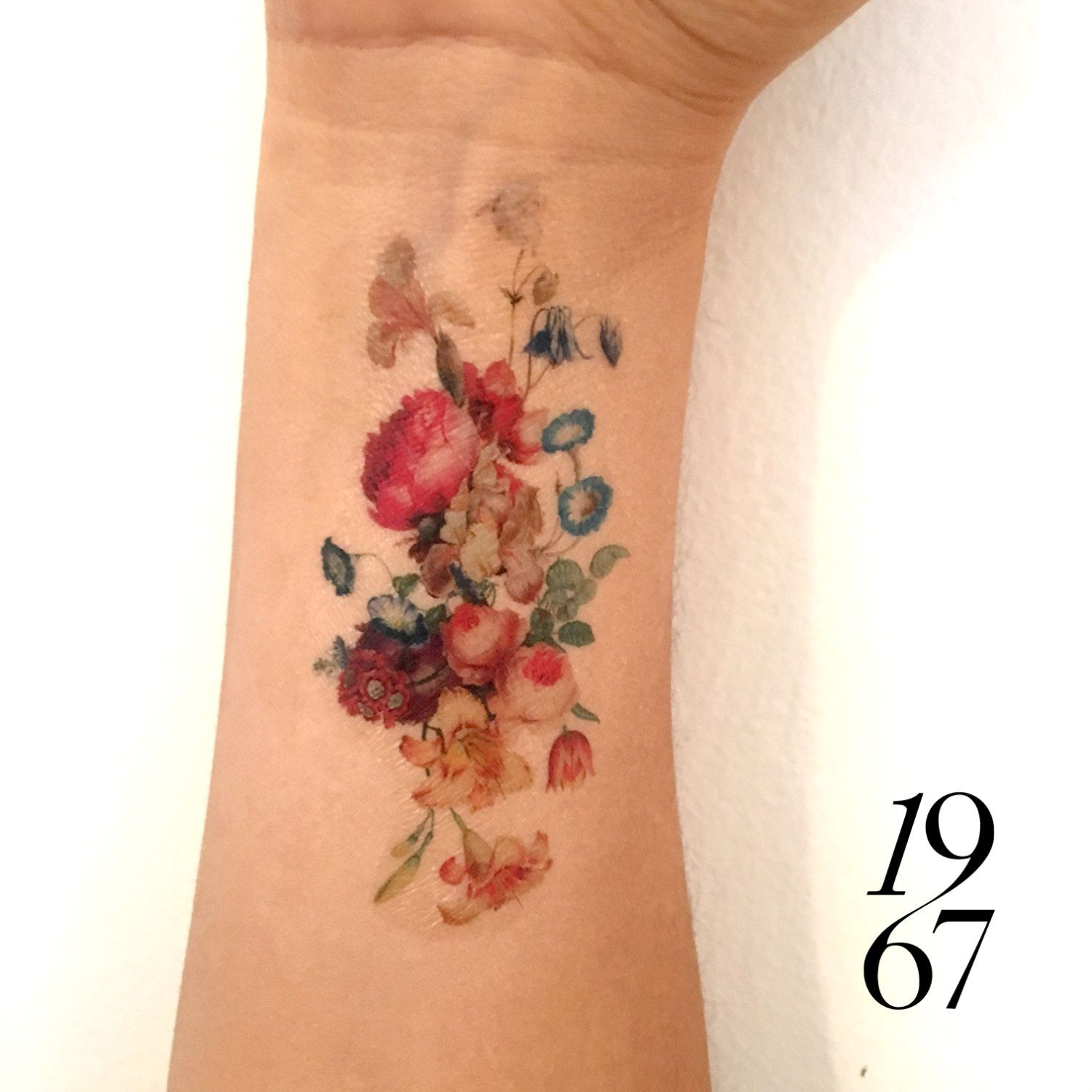 Vintage floral temporary tattoo fresh bouquet of flowers tattoo