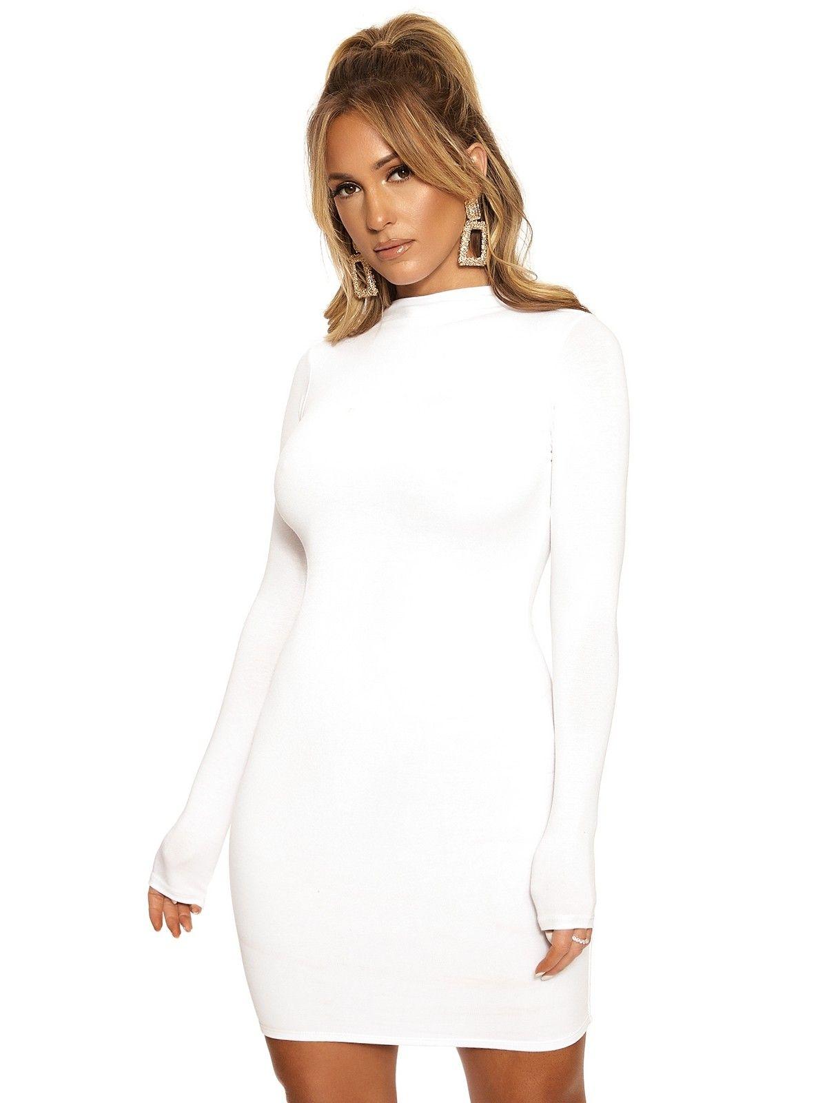 The Nw Mini Turtle Neck Dress White Midi Dress Bodycon Bodycon Dress Parties [ 1600 x 1200 Pixel ]