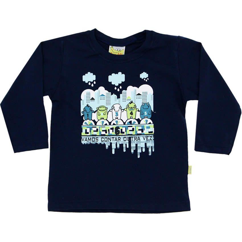 Camiseta Infantil Masculina Vamos Contar Marinho - Jaca-Lelé :: 764 Kids | Roupa bebê e infantil