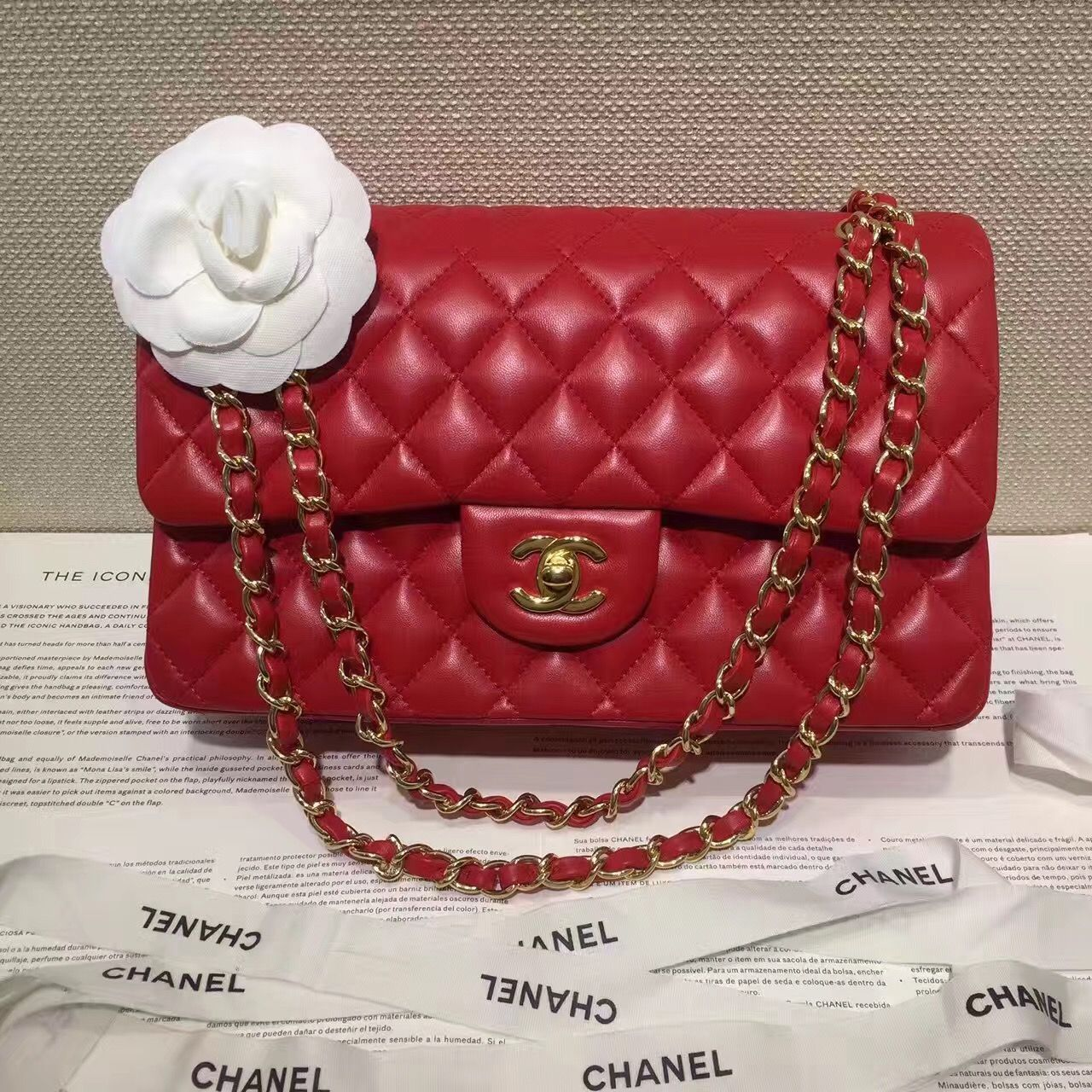 b39f8f78cb Bottega Veneta · Authentic Quality 1 1 Mirror Replica Chanel Classic Flap  Bag Medium Red Lambskin Silver Hardware