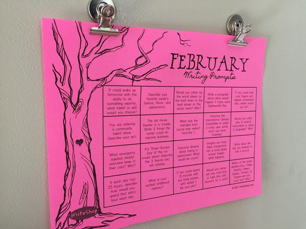 Free February Writing Prompt Calendar