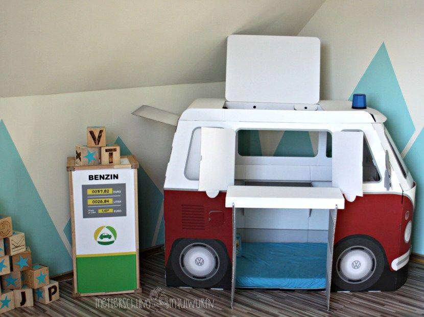 Papp bulli retro autobett kinderzimmer selbermachen bauen einrichten ideen kind zimmer - Retro kinderzimmer ...