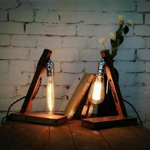 Superb Retro Vintage Lampe a poser en bois Industrial Lampe de Table Edison