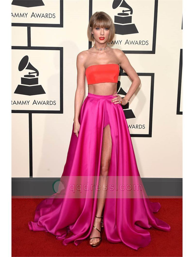 Orange Top Fuchsia Skirt Two Piece Celebrity Red Carpet Prom Dress ...