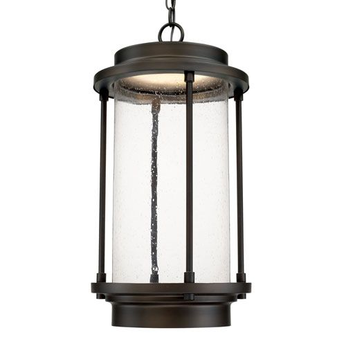 Capital lighting fixture company grant park old bronze one light led hanging lantern