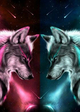 Yin Yang Wolf Metal Poster Print Smith Oscar Displate In 2021 Wolf Background Cute Animal Drawings Wolf Spirit Animal
