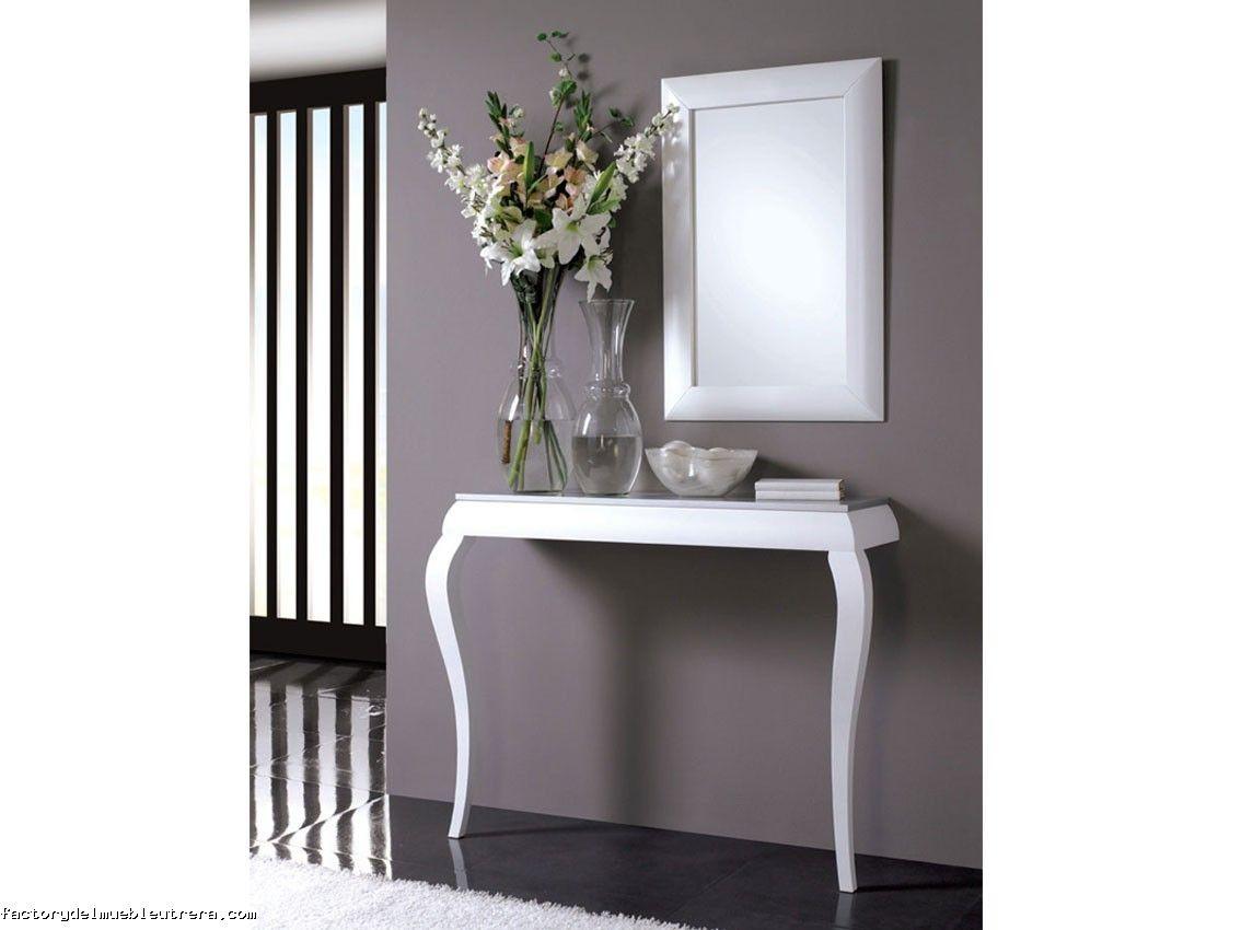 Mesa de dos patas blancas con tablero gris mesas consolas de dos patas - Mesa consola ikea ...